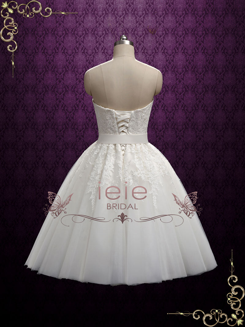 Retro Strapless Tea Length Wedding Dress with Lace | Flora – ieie