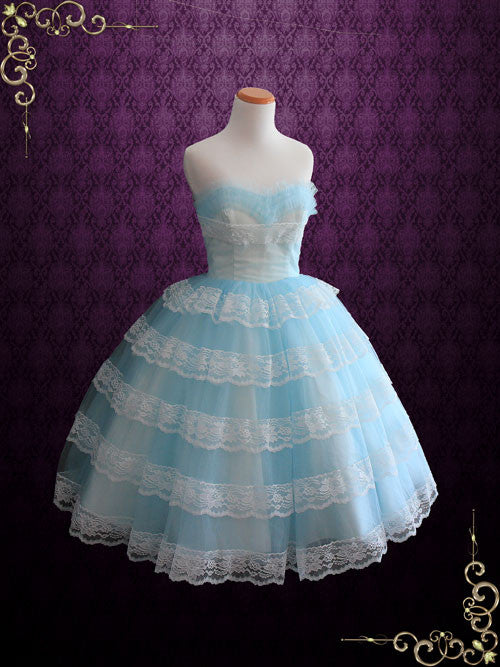 164a3cf5f27 Tea Length Blue Retro 50s Prom Formal Tulle Dress with Ruffles | Maggie