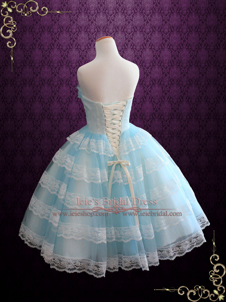 Tea Length Blue Retro 50s Prom Formal Tulle Dress with Ruffles | Maggie
