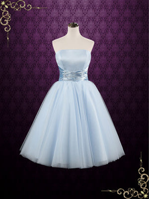 Retro Blue 50s Tea Length Strapless Tulle Prom Formal Dress | Emmie