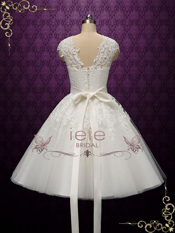Retro Vintage Tea Length Lace Wedding Dress | Klara