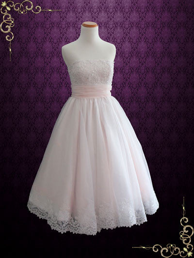 Retro Blush Pink Strapless Tea Length Lace Wedding Dress | Susanah
