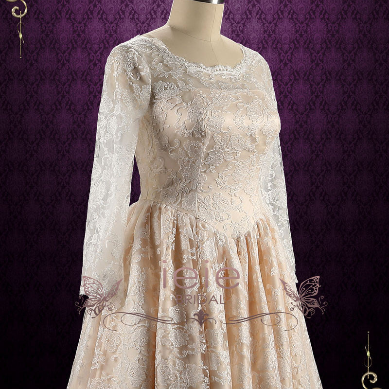 Retro Champagne Tea Length Lace Wedding Dress | Shirley
