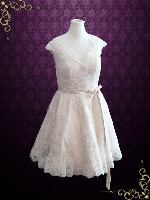 Retro 50s Lace Knee Length Wedding Dress With Thin Sash
