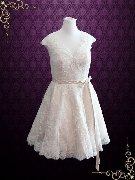Retro 50s Champagne Lace Knee Length Wedding Dress with Thin Sash | Cynthia