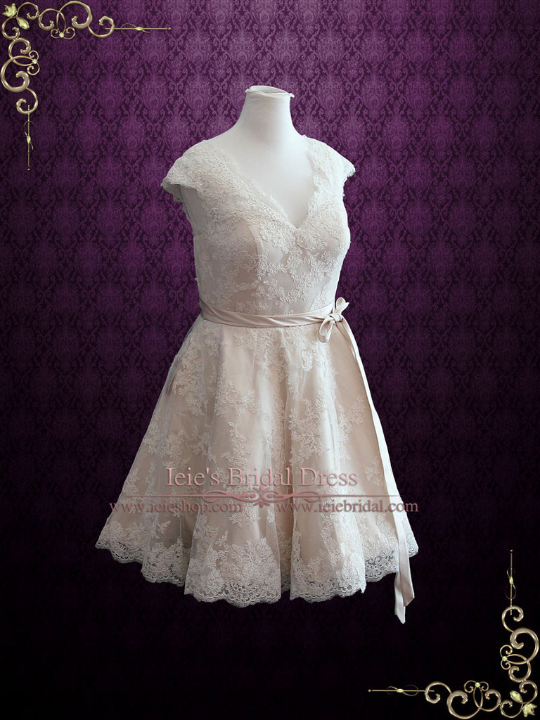 Retro 50s Lace Knee Length Wedding Dress with Thin Sash | Cynthia