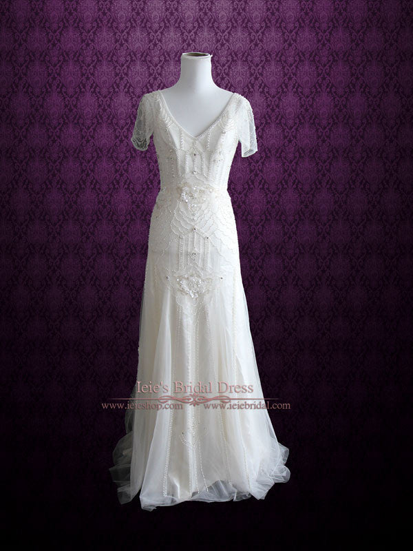 Glamorous retro 1920 s style wedding dress with sleeves for 1920s vintage style wedding dresses