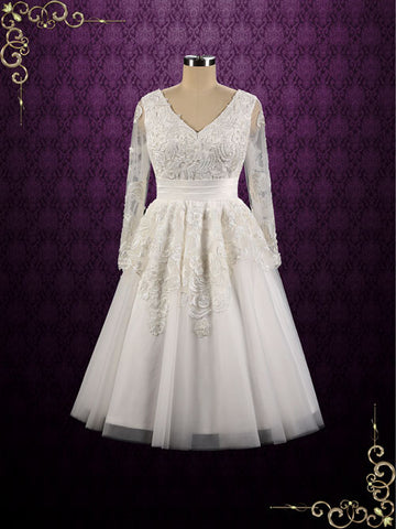 Retro Long Sleeves Tea Length Wedding Dress | Joycelyn