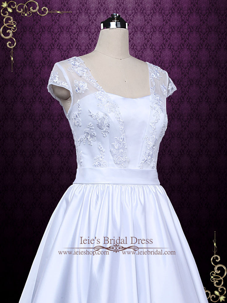Retro Tea Length Wedding Dress with Lace Cap Sleeves | Abbie