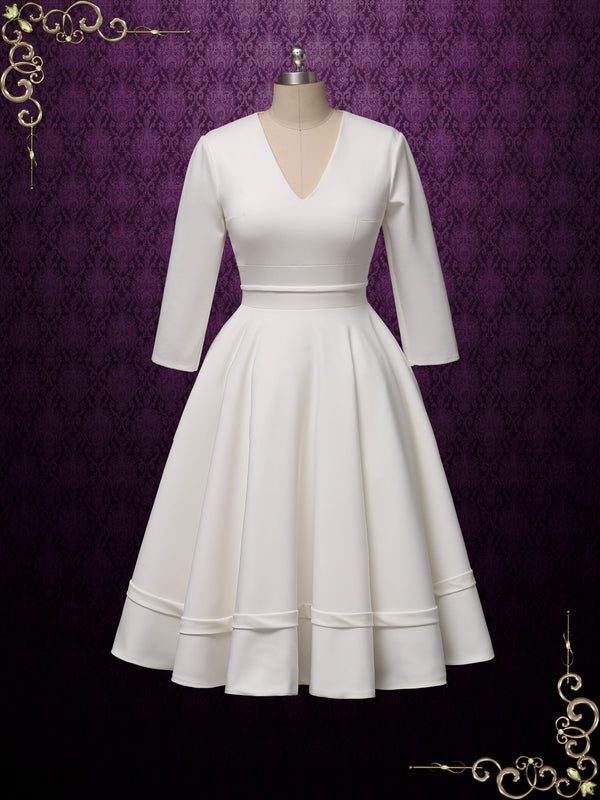 Retro Simple Long Sleeves Short Wedding Dress | Lynn