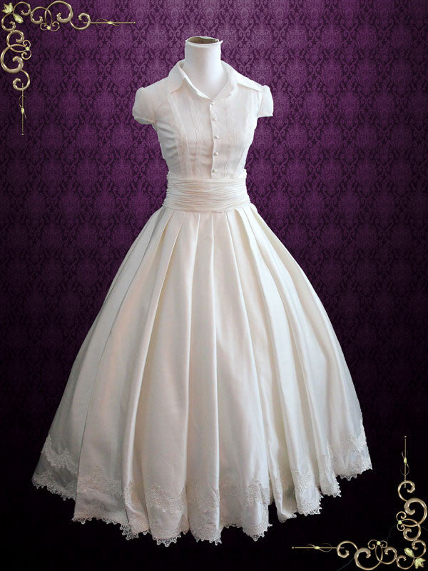 Fairy Tale 2 Piece Satin Ball Gown Wedding Dress – ieie