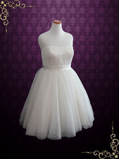 Plus Size Retro Tea Length Wedding Dress with Polka Dot Tulle | Molly