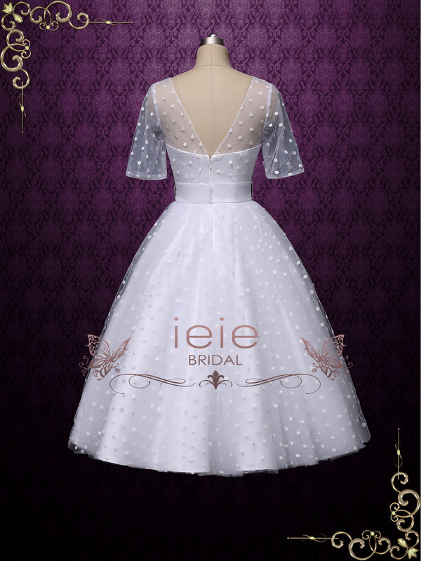 Retro Tea Length Wedding Dress with Polka Dot
