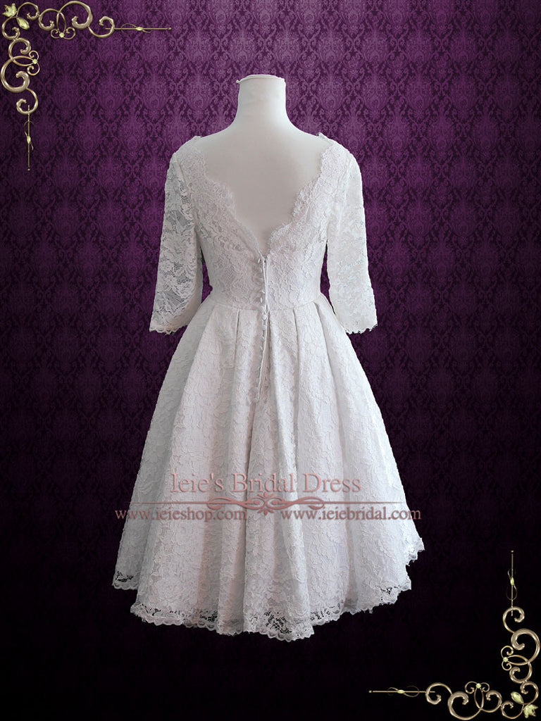 Ready to Wear Retro Tea Length Lace Wedding Dress CHRISTINA