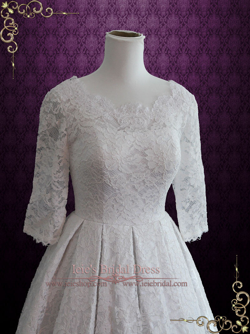 Ready to Ship Retro Tea Length Lace Wedding Dress | Christina