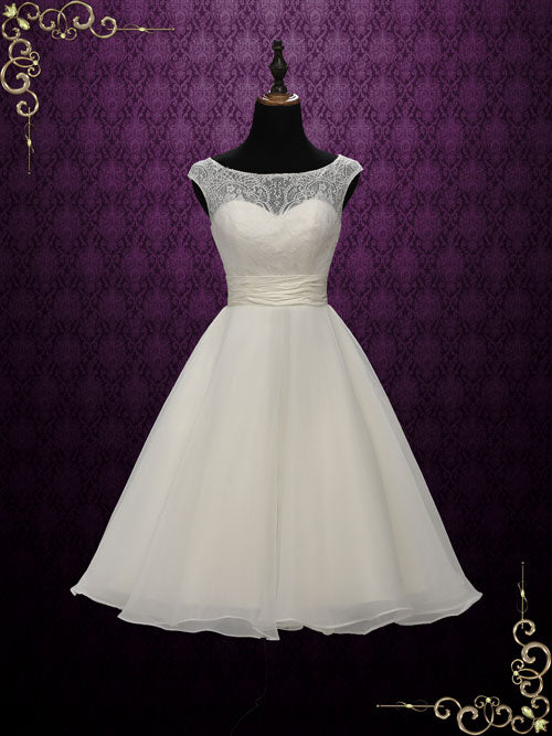 Short Retro Tea Length Lace Wedding Dress | Bree