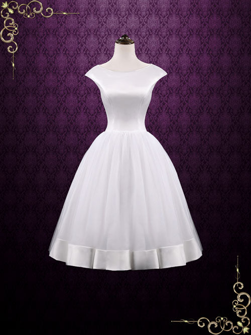Vintage Retro Tea Length Satin Tulle Wedding Dress AUDREY