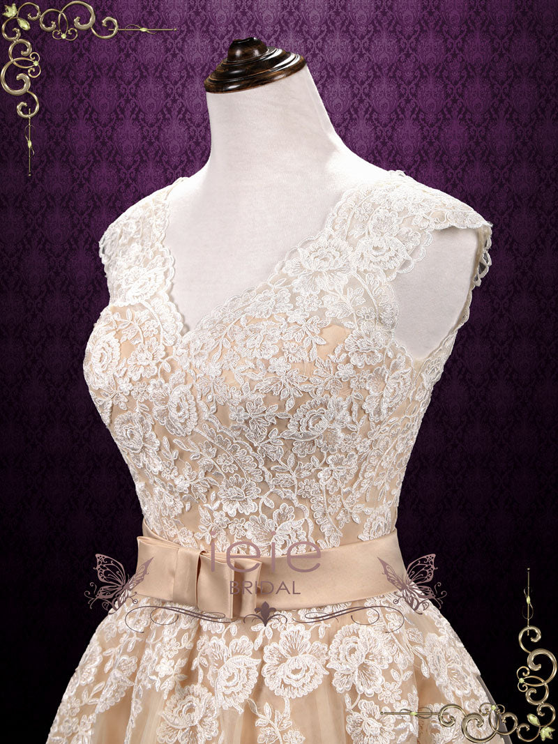 Tea Length Short Lace Wedding Dress Debbie Ieie