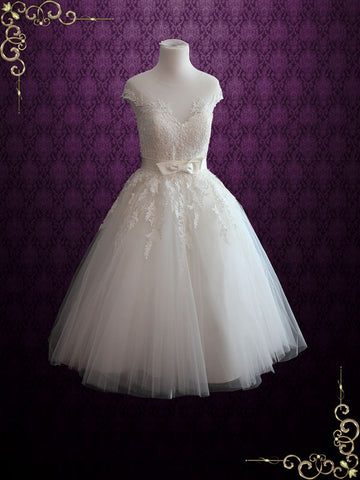 Ivory Retro Tea Length Wedding Dress with Illusion Neckline | Rosalie
