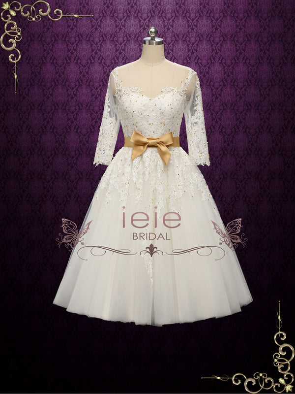 Vintage Style Lace Tea Length Wedding Dress with Gold Accents | Paula
