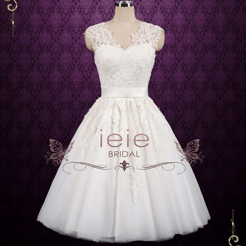 Retro Vintage Short Tea Length Lace Wedding Dress | Clover