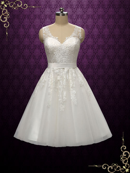 Retro Tea Length Lace Wedding Dress | Clarince