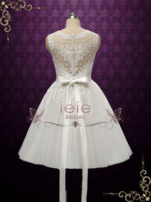Retro Tea Length Lace Wedding Dress with Stunning Back | Clarince
