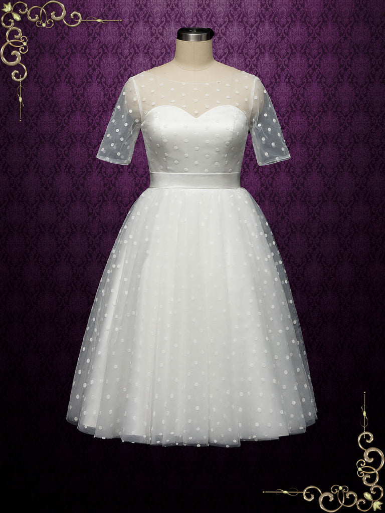 Retro Polka Dot Short Wedding Dress BRIELLE