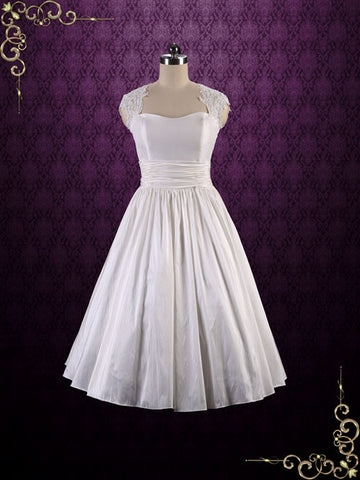 Retro Tea Length Wedding Dress with Lace Cap Sleeves and Keyhole Back | Jodie