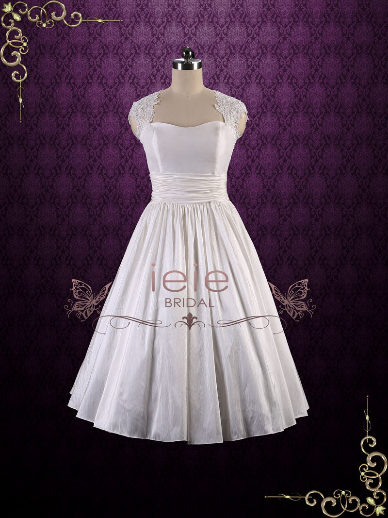 Retro Tea Length Wedding Dress with Lace Cap Sleeves and Keyhole ...