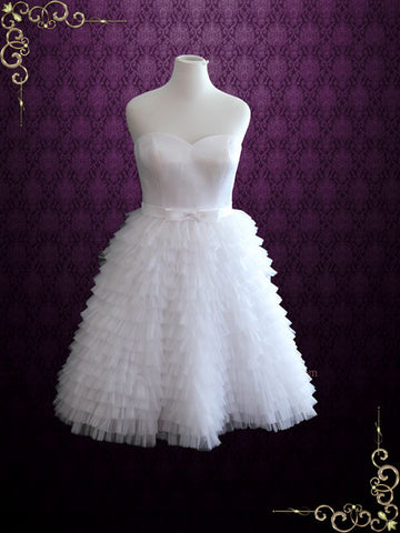 Retro Short Ruffled Wedding Dress with Strapless Neckline | Susan