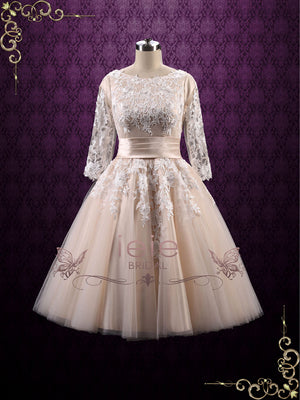 Retro 50s Modest Tea Length Lace Wedding Dress | Marlene