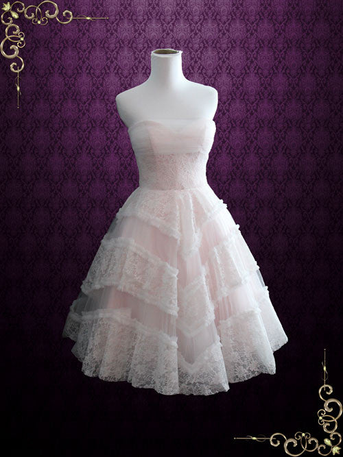 Blush Pink Retro Style Tea Length Strapless  Formal Dress | Fable