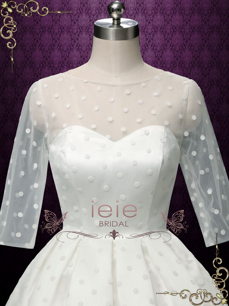 Retro Short Polka Dot Wedding Dress | DORA