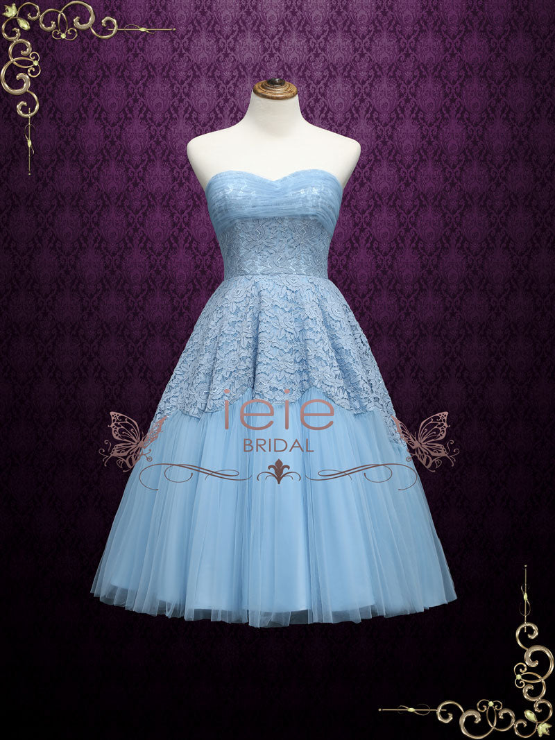 Retro 50s Tea Length Strapless Prom Dress Sweet Sixteen