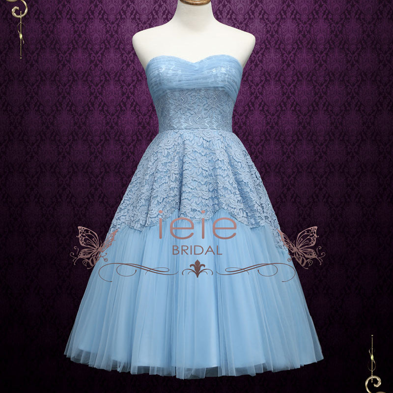 Retro 50s Tea Length Strapless Prom Dress Sweet Sixteen Dress | Gabby