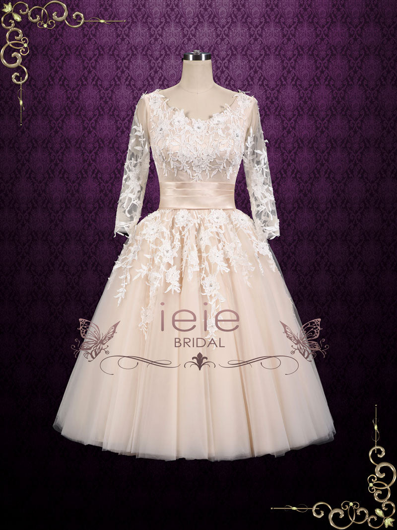 Retro 50s Vintage Style Wedding Dress With Sleeves