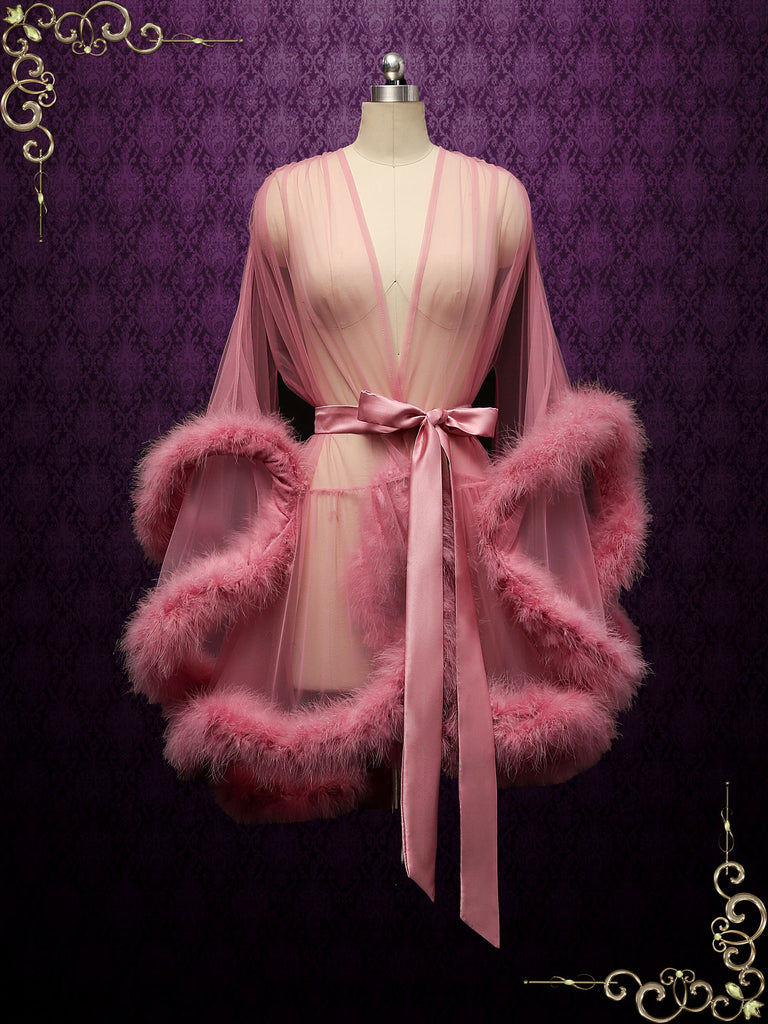 Rose Pink Honeymoon Wedding Marabou Fur Edge Boudoir Robe CICI