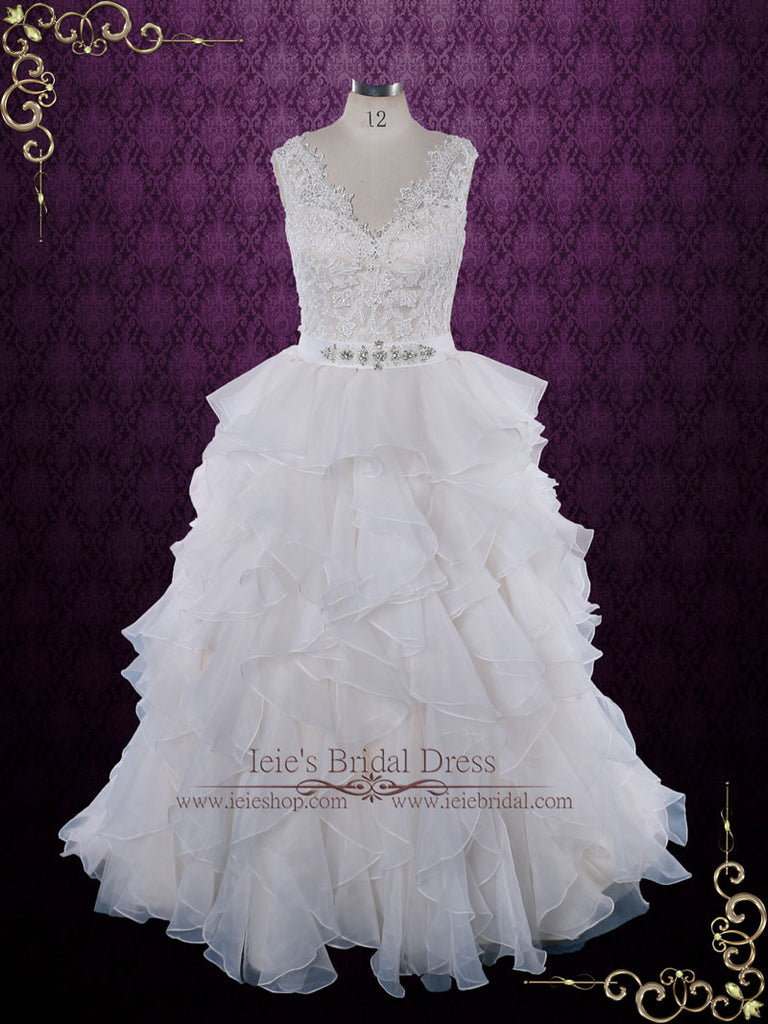 Ruffle Ball Gown Wedding Dress with Lace Bodice | Caren