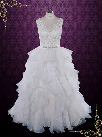 Princess Ruffle Ball Gown Wedding Dress with Lace Bodice | Caren