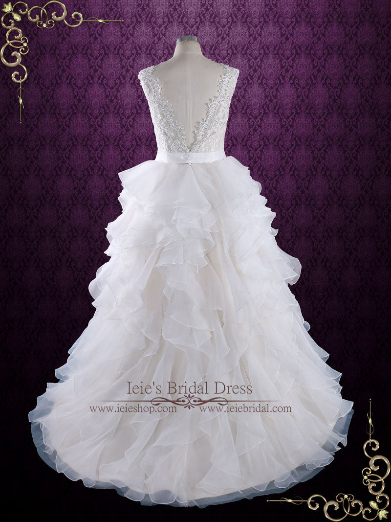 Princess Ruffle Ball Gown Wedding Dress With Lace Bodice