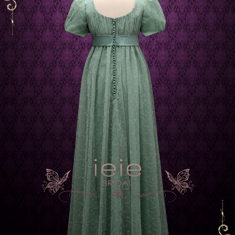 Green Regency Style Empire Dress with Floral Lace | Joanne