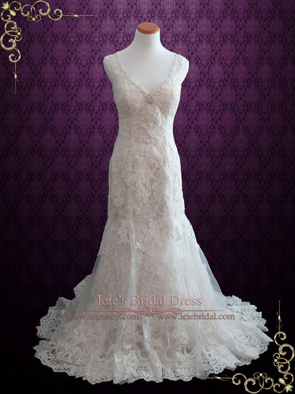 Vintage Style Fit and Flare Lace Wedding Dress with Illusion Back | Serah
