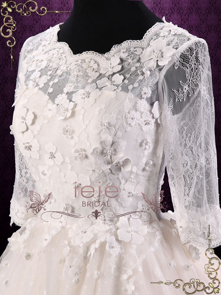 Short Champagne Lace Wedding Dress with Half Sleeves | Zoey