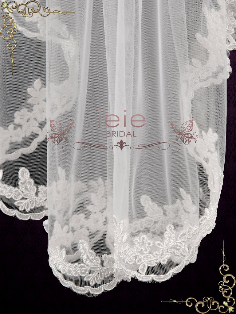 Short Elbow Length Veil with Floral Lace Edges VG1087