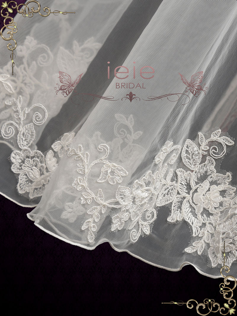 Short Fingertip Lace Veil with Floral Edge | VG2014