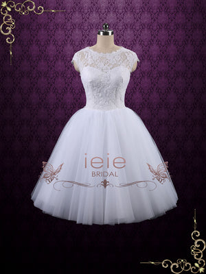 Short Tea Length Lace Wedding Dress | Hazel