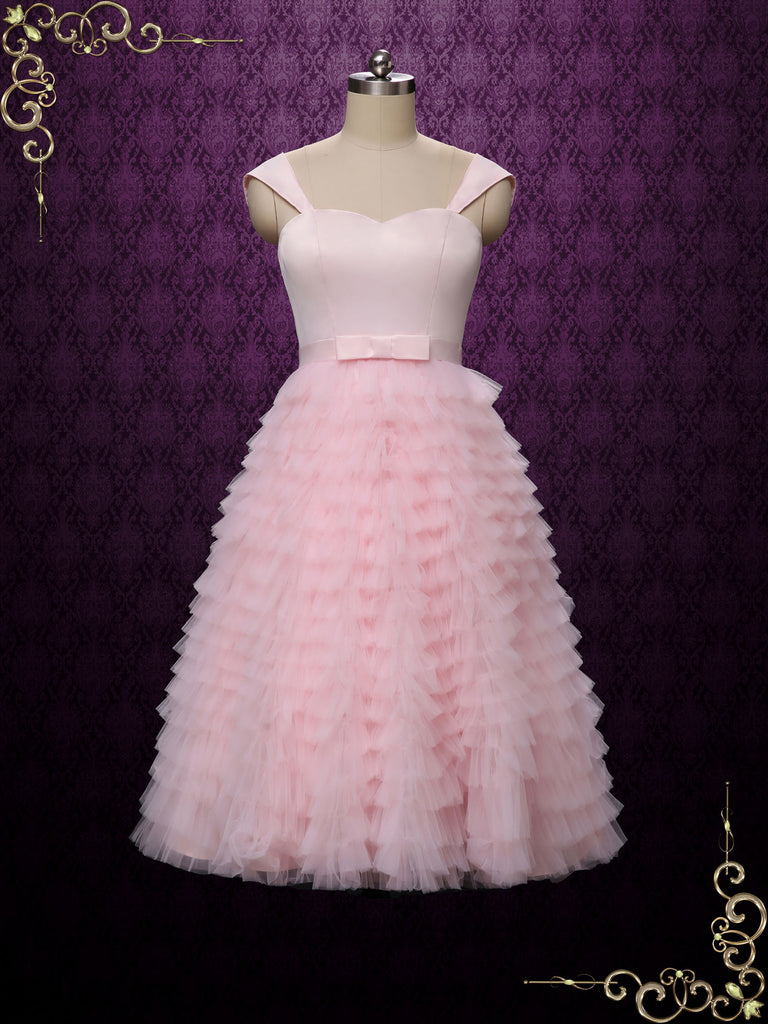 Short Pink Ruffle Wedding Dress Prom Dress | SADIE