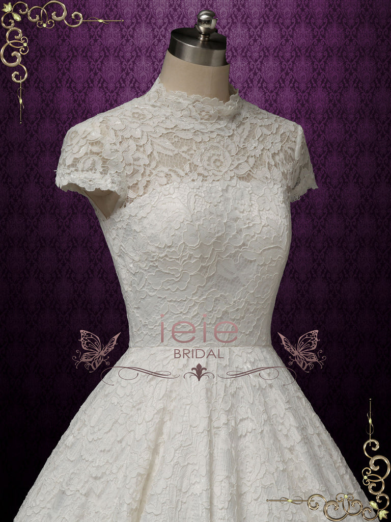 Ball Gown Lace Wedding Dress with Short Sleeves ADDISON