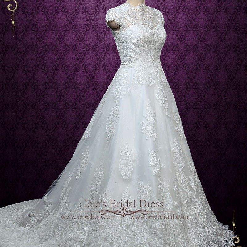 Elegant Short Sleeves Lace A-line Wedding Dress with Modest Neckline | Elise